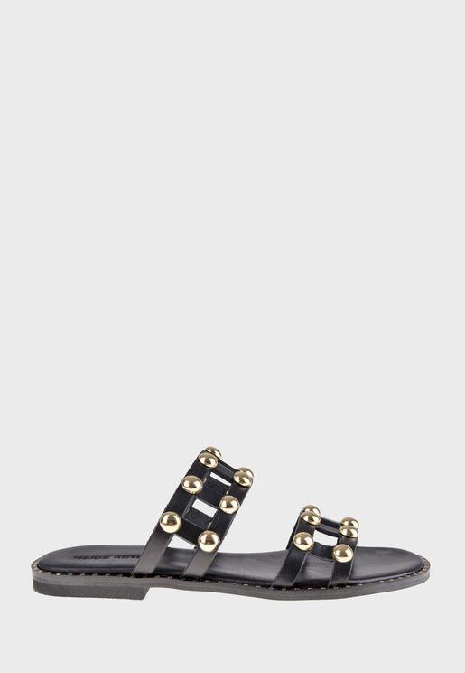 Double Strap Studded Flat Sandal