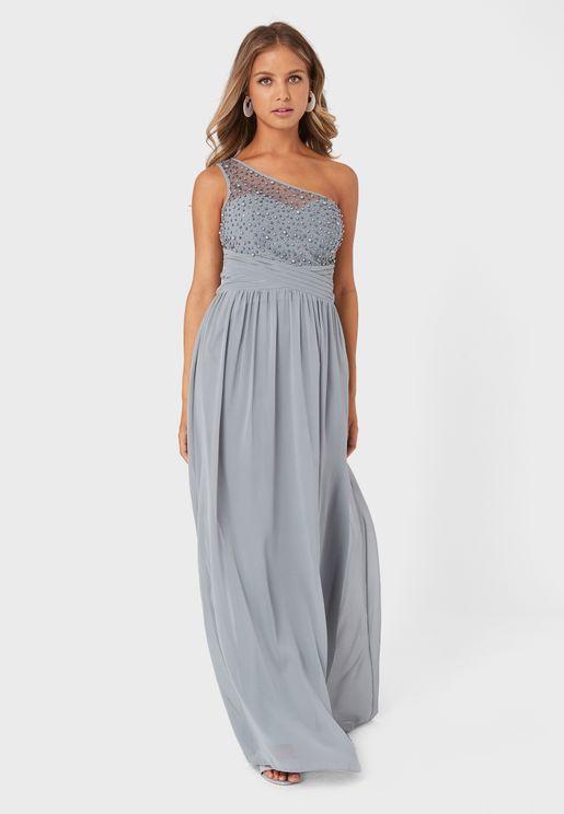 One Shoulder Pearl Detail Dress