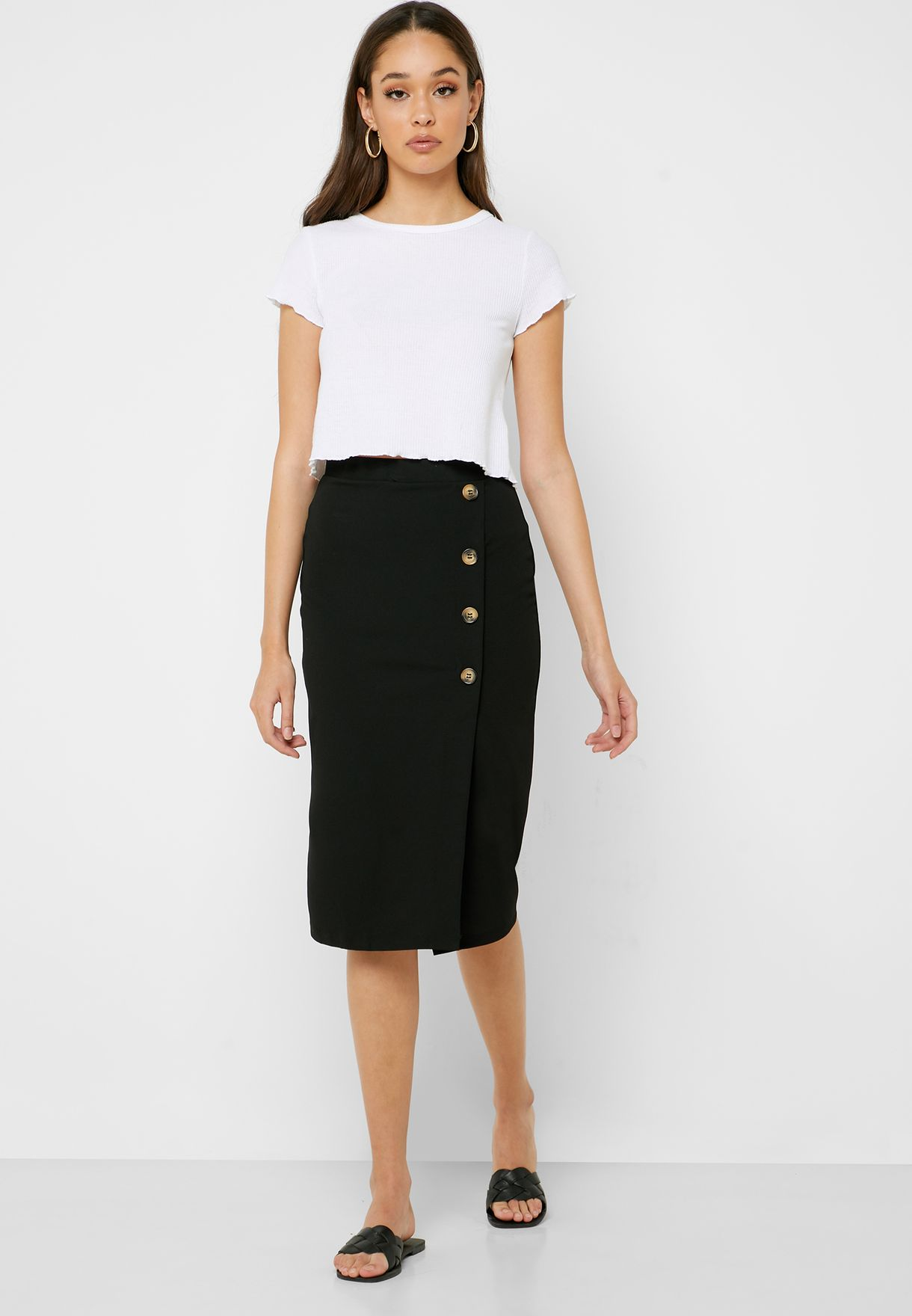 Side Button Pencil Skirt