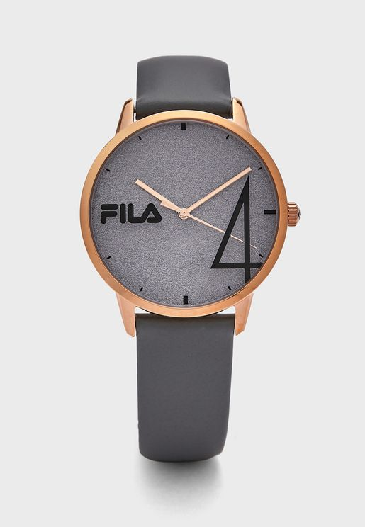 Leather Glitter Dial Watch