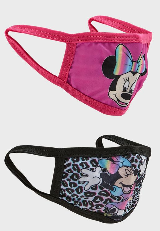 Kids 2 Pack Minnie Mouse Print Mask