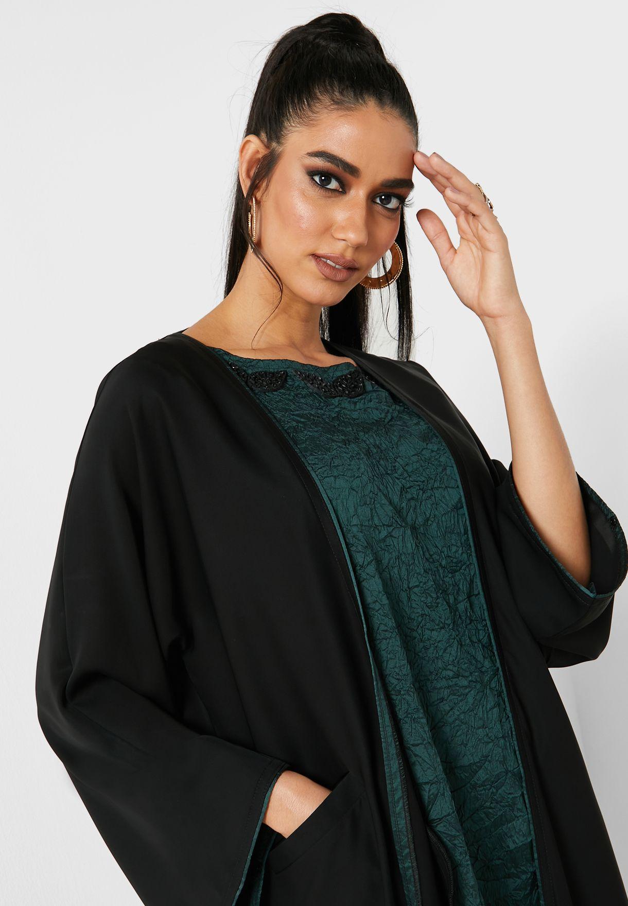 Embellished Neck Abaya