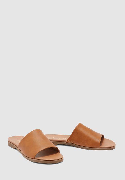 Single Strap Flat Sandal-Brown