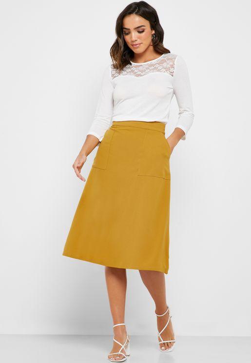 Pocket Detail Midi Skirt