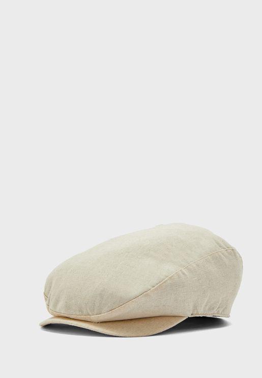 Men's Navy Cotton Linen Flat Cap