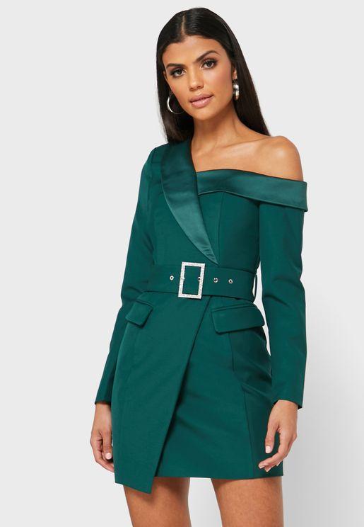 One Shoulder Belted Blazer Dress