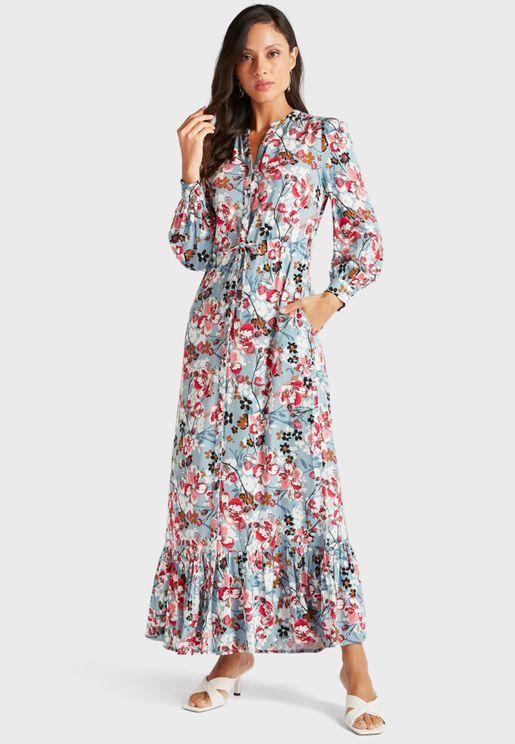 Floral Print Pocket Detail Dress