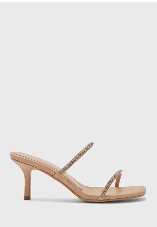 Double Strap Diamante Stiletto Heel Sandal