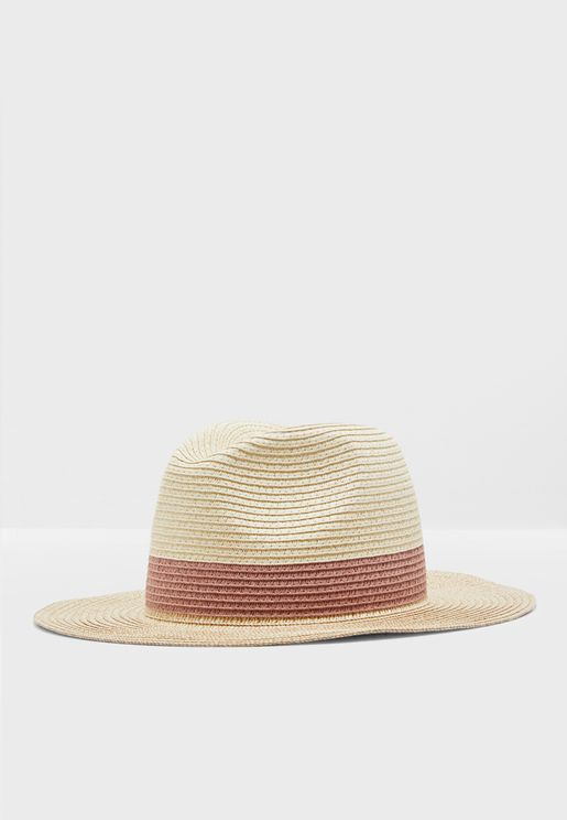 Fedora Straw Hat With Contrast Brim