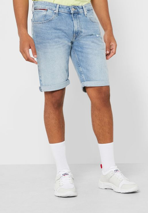 Roll Hem Denim Shorts