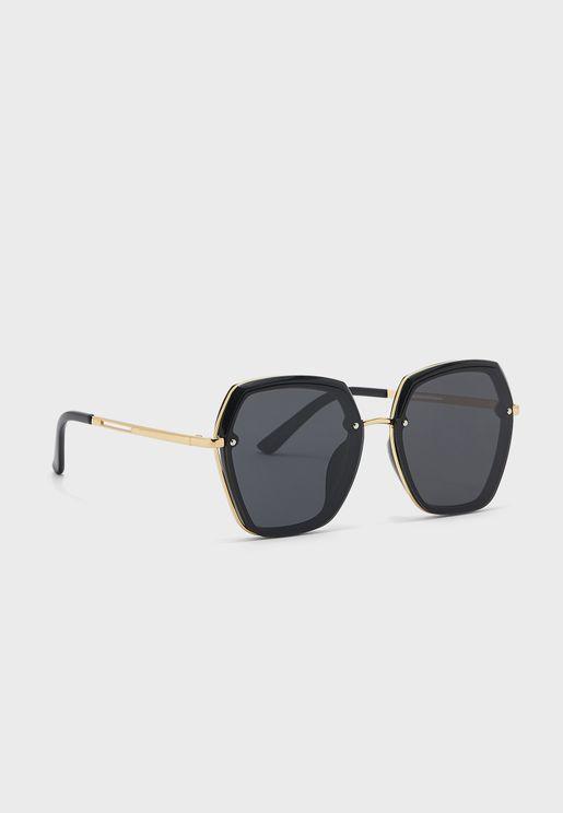 Overisized Frame Detail Polarized Sunglasses