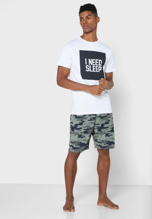 Camo Print T Shirt & Short Pyjama Set