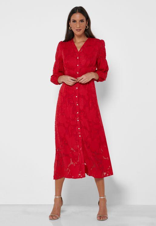 Textured Button Through Dress