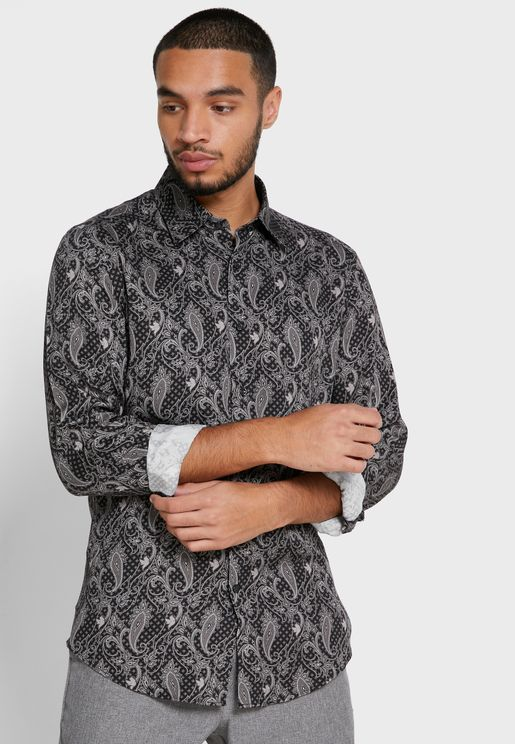 Tace Paisley Print Slim Fit Shirt