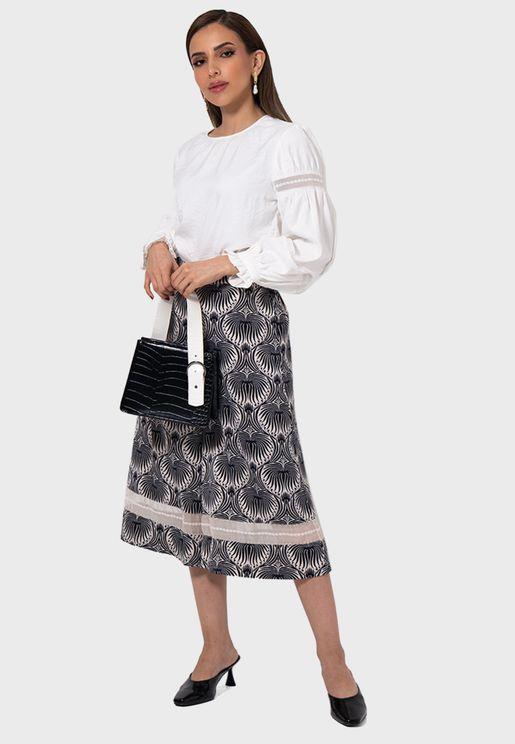 Printed Wide Leg Culotte Pants