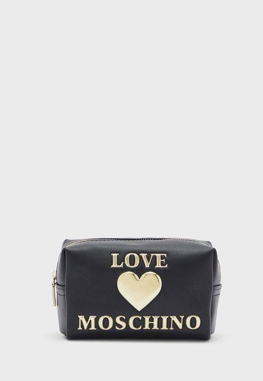 Logo Print Cosmetic Bag