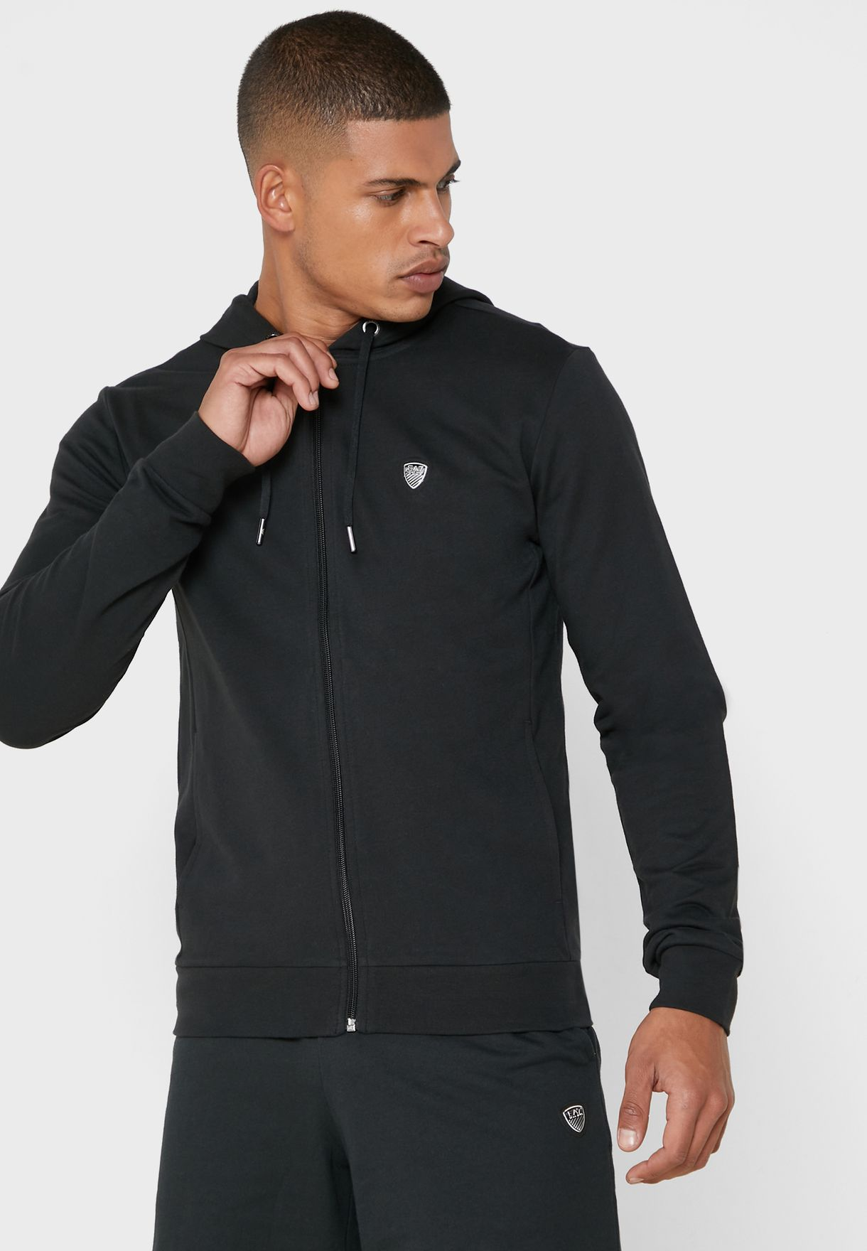Metal Logo Zip Through Hoodie