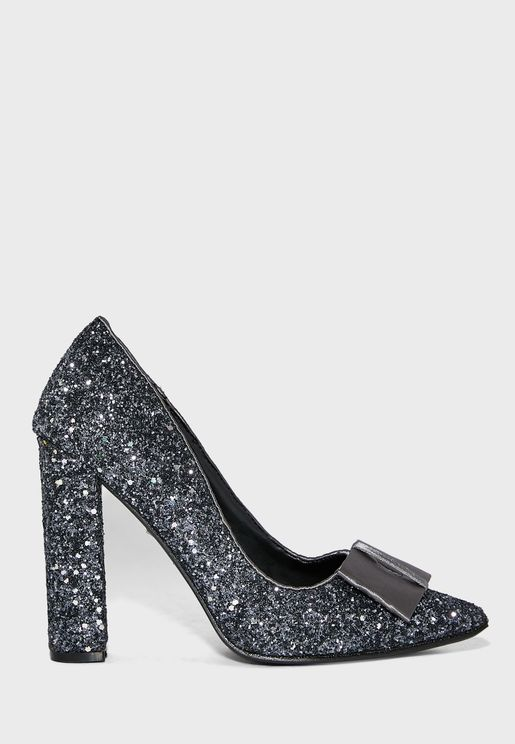Pointed Sequin Block Heel Pump With Bow