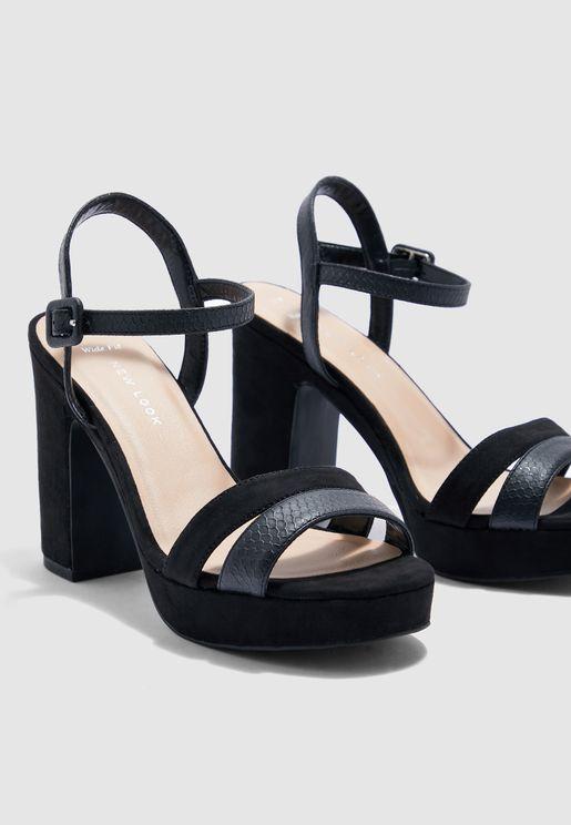 Wide Fit Block Heel Sandal - Black