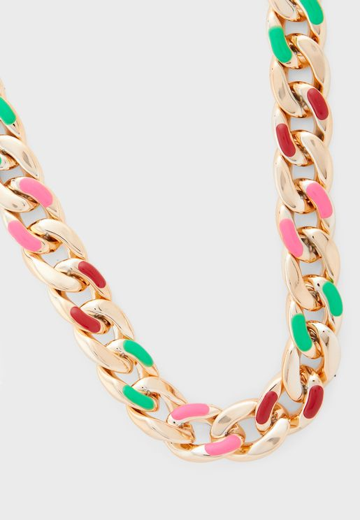 Colour Highlighted Chain Necklace