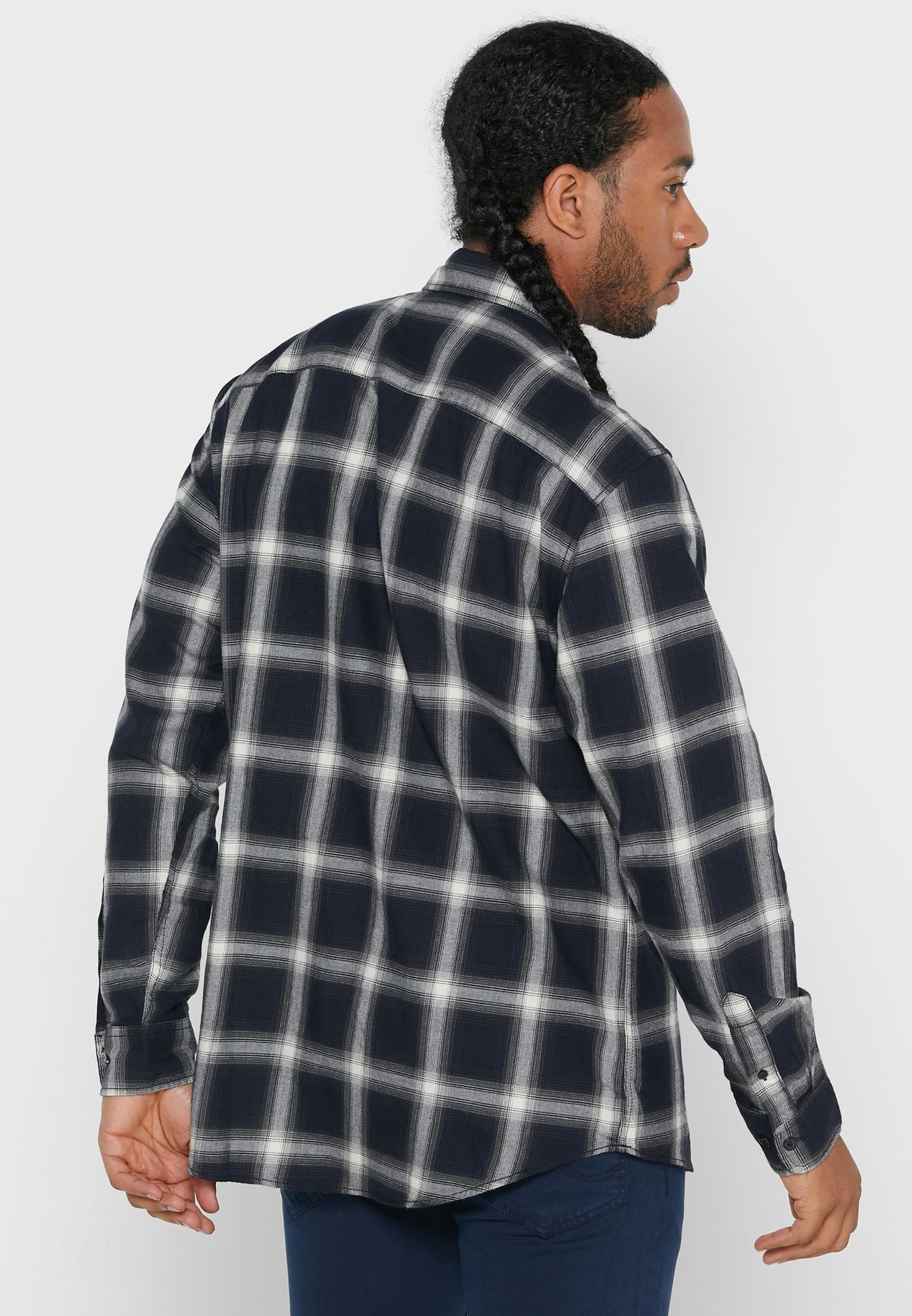 Noir Relaxed Fit Checked Shirt