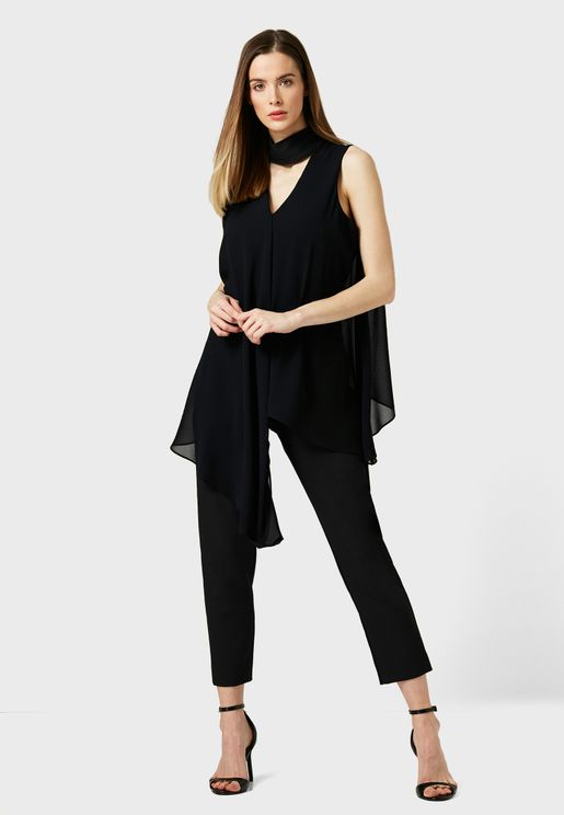 Front Neck Cut Out Jumpsuit