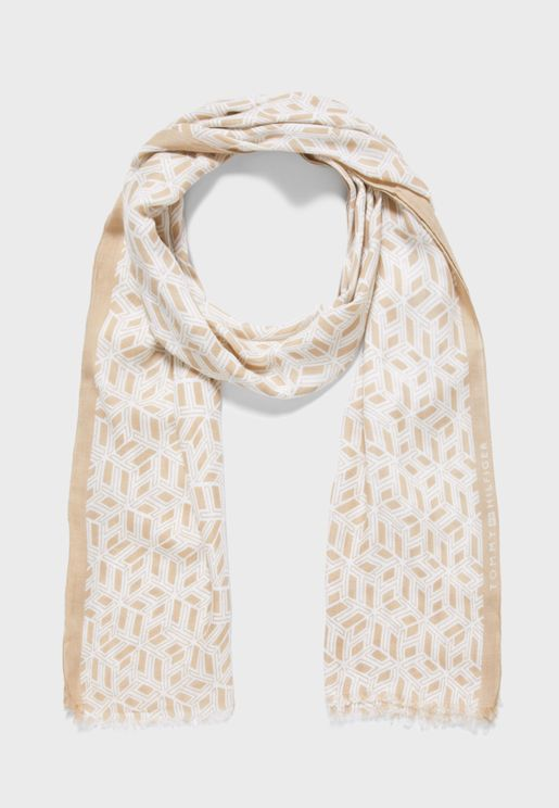 Outline Monogram Scarf