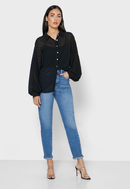 بنطال جينز بخصر مرتفع