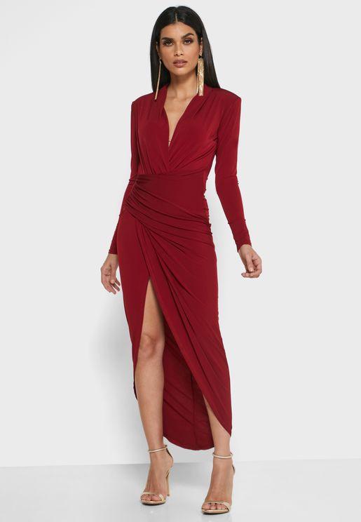 Ruched Front Side Split Dress