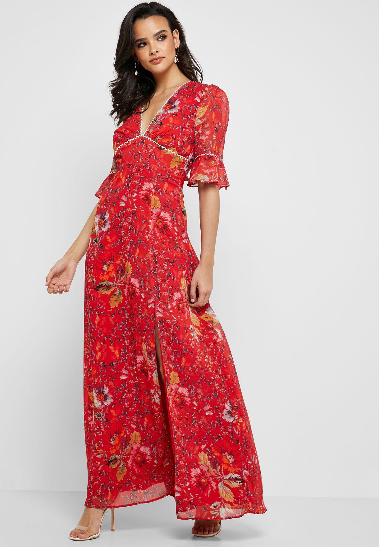 5422babf Floral Open Back Flute Sleeve Maxi Dress
