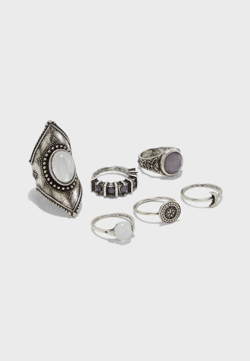 90bad5c2a3a 6 Pack Grunge Kite Rings