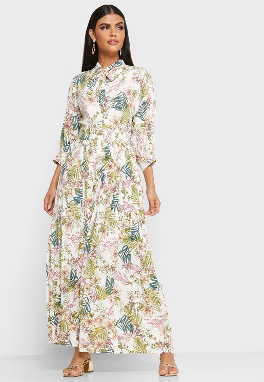 فستان ماكسي بطبعات ازهار واربطة عنق