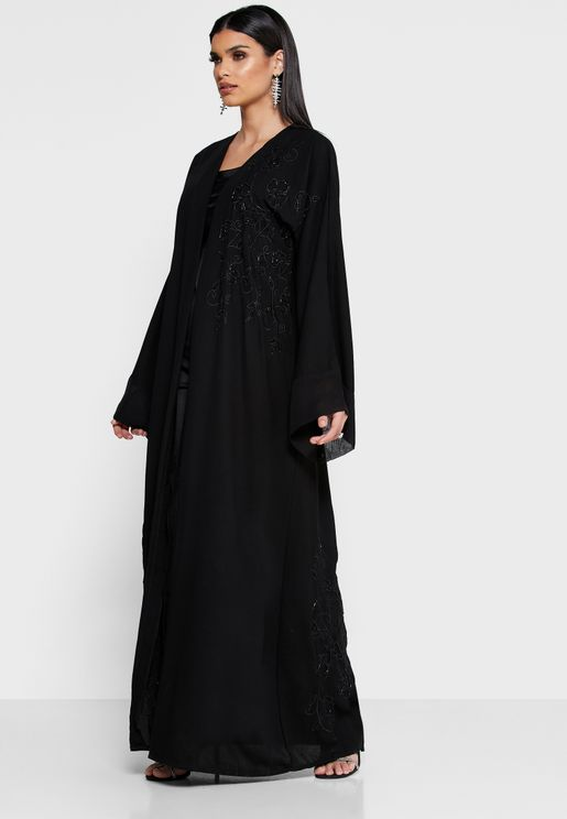 Sheer Lace Detail Abaya