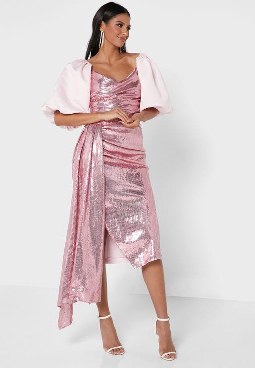High Waist Sequin Skirt