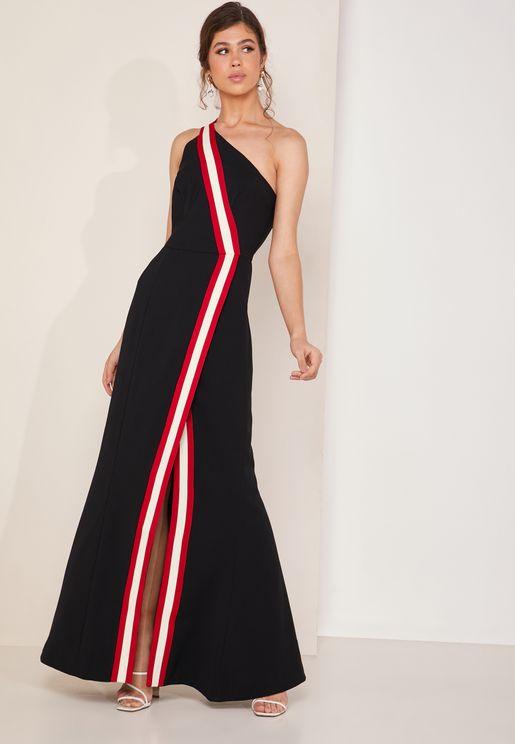 5f56cbe8bd Pursue One Shoulder Side Split Striped Maxi Dress