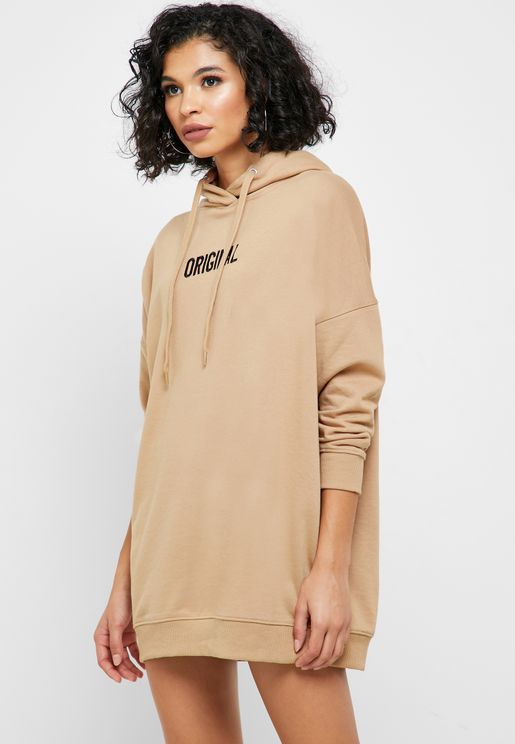 Slogan Hooded Sweat Dress