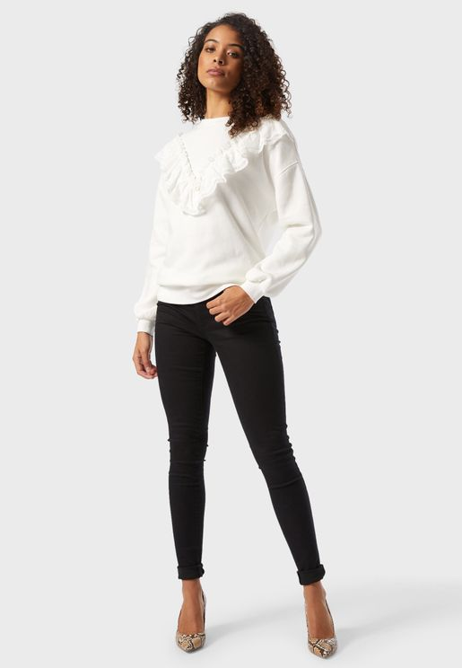 Lace Trim Sweatshirt