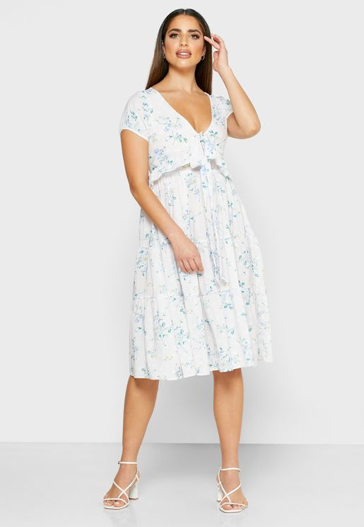 Floral Print Ruffle Paneled Midi Dress