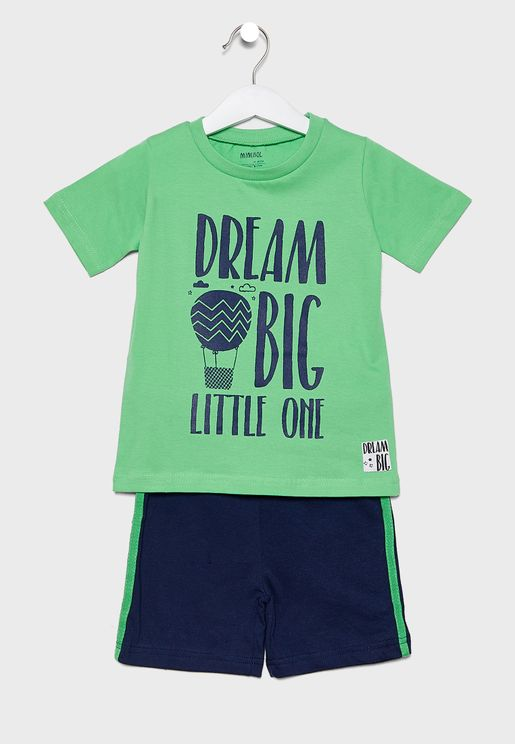 Little Slogan T-Shirt + Shorts Set