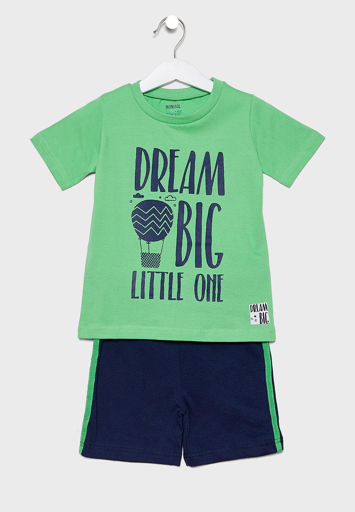 Little Slogan T-Shirt + Shorts Set