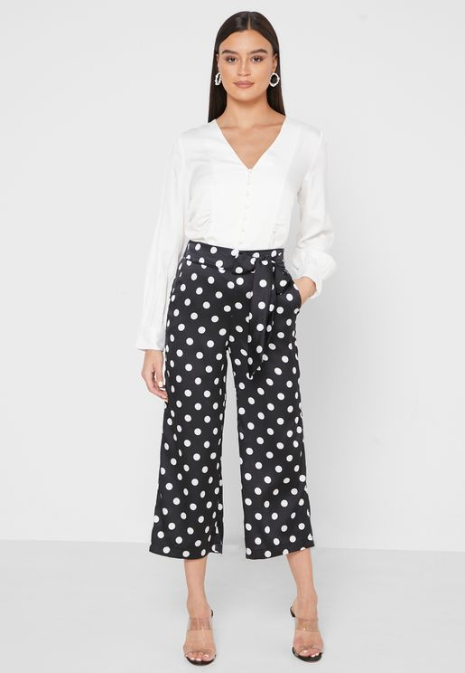 Polka Dot Self Tie Cropped Pants