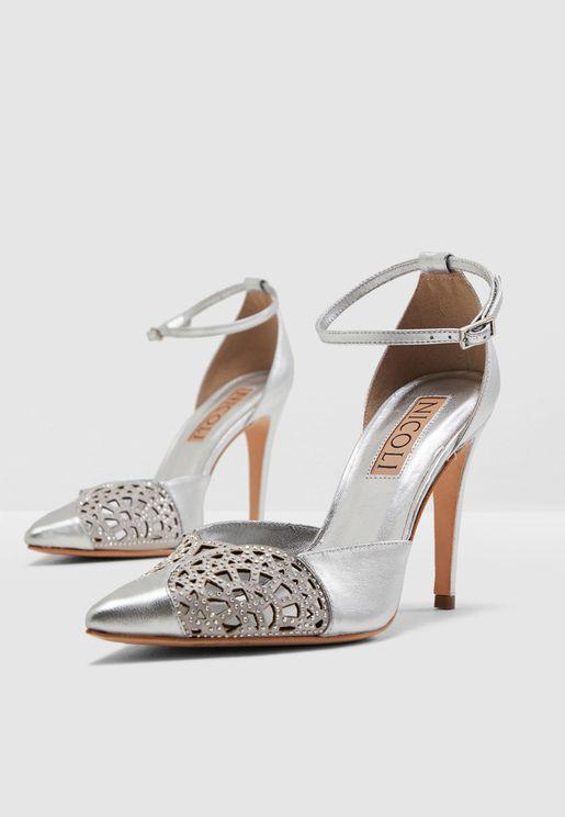 Yumi Ankle Strap Pump - Silver