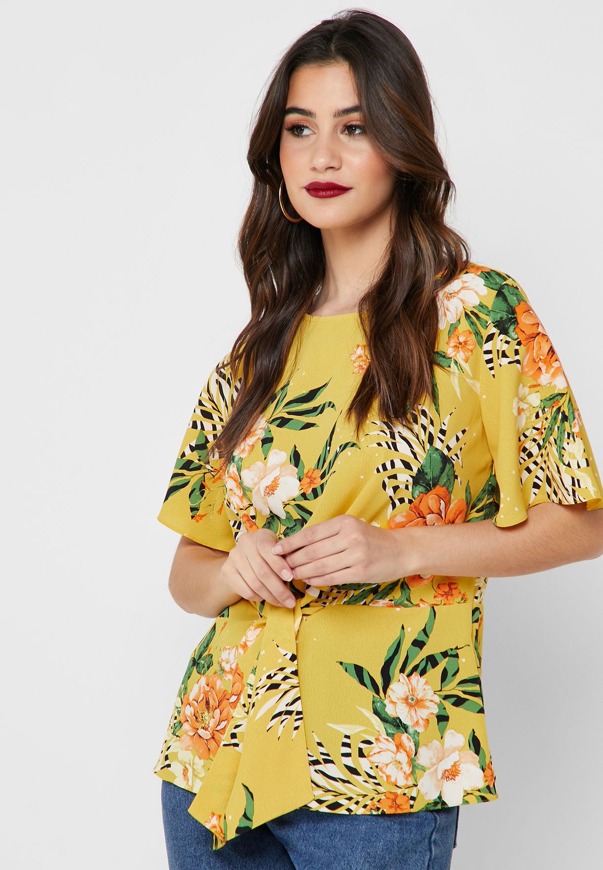 2886205956 Shop Dorothy Perkins prints Yellow Floral Front-Knot Top 5791404 for ...