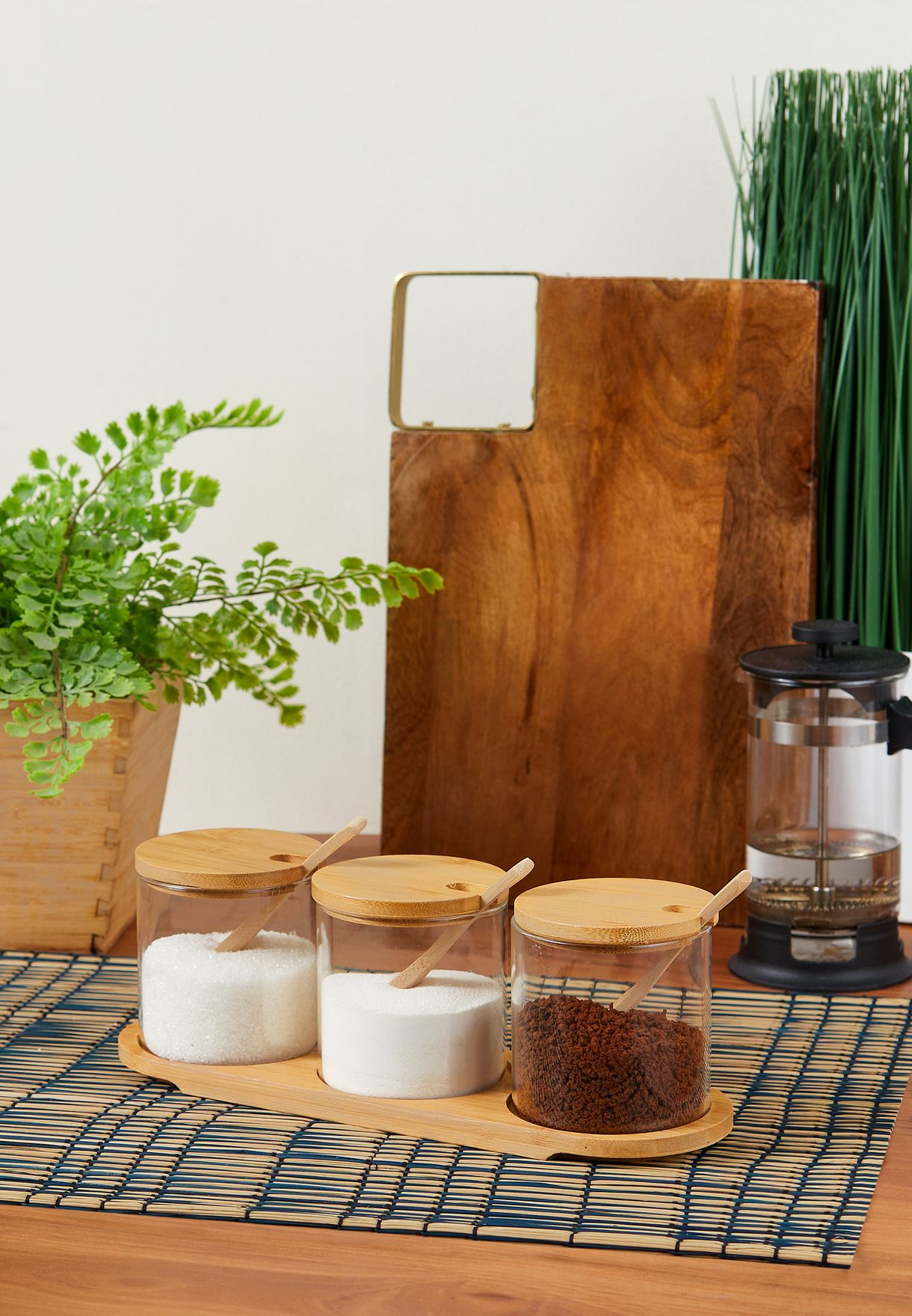 Set Of 3 Glass Wooden Storage Jars