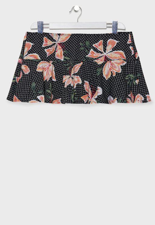 Ruffle Hem Printed Swim Skirt