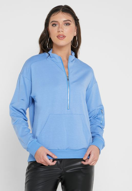 High Neck Pocket Sweatshirt