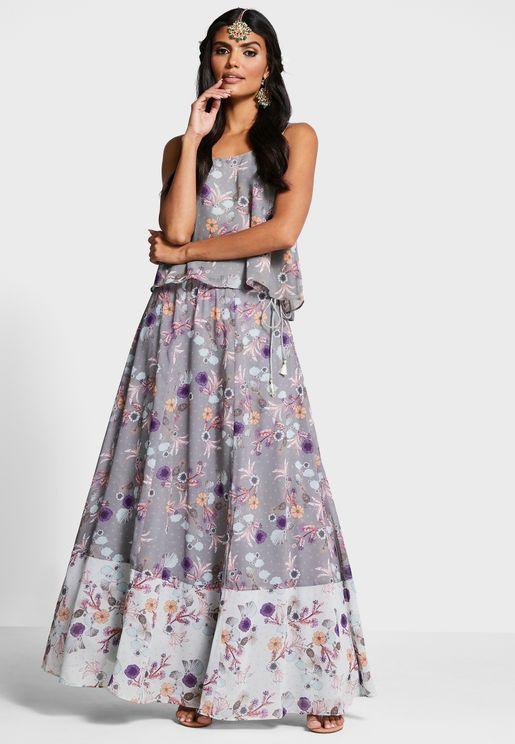 Indya X Payal Singhal Grey Blue Floral Maxi Skirt