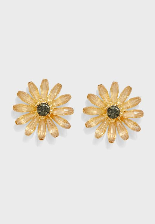 Flower Stud Earrings With Black Stone