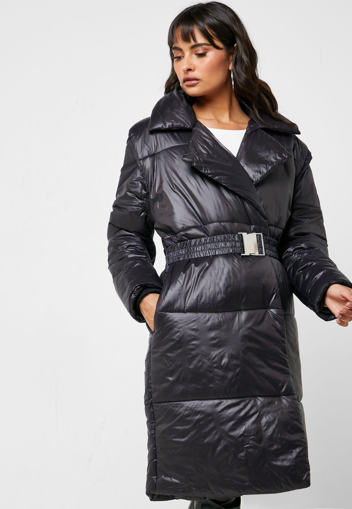 معطف طويل مبطن بحزام