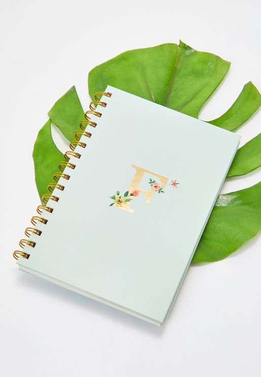 Initial F Floral Notebook